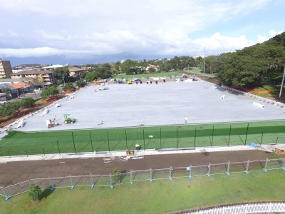 Aerial view of the newly constructed multi purpose sports courts at Waverley Park in eastern Sydney