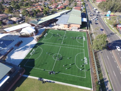 Drone view of RJ Anglican School Futsal Court