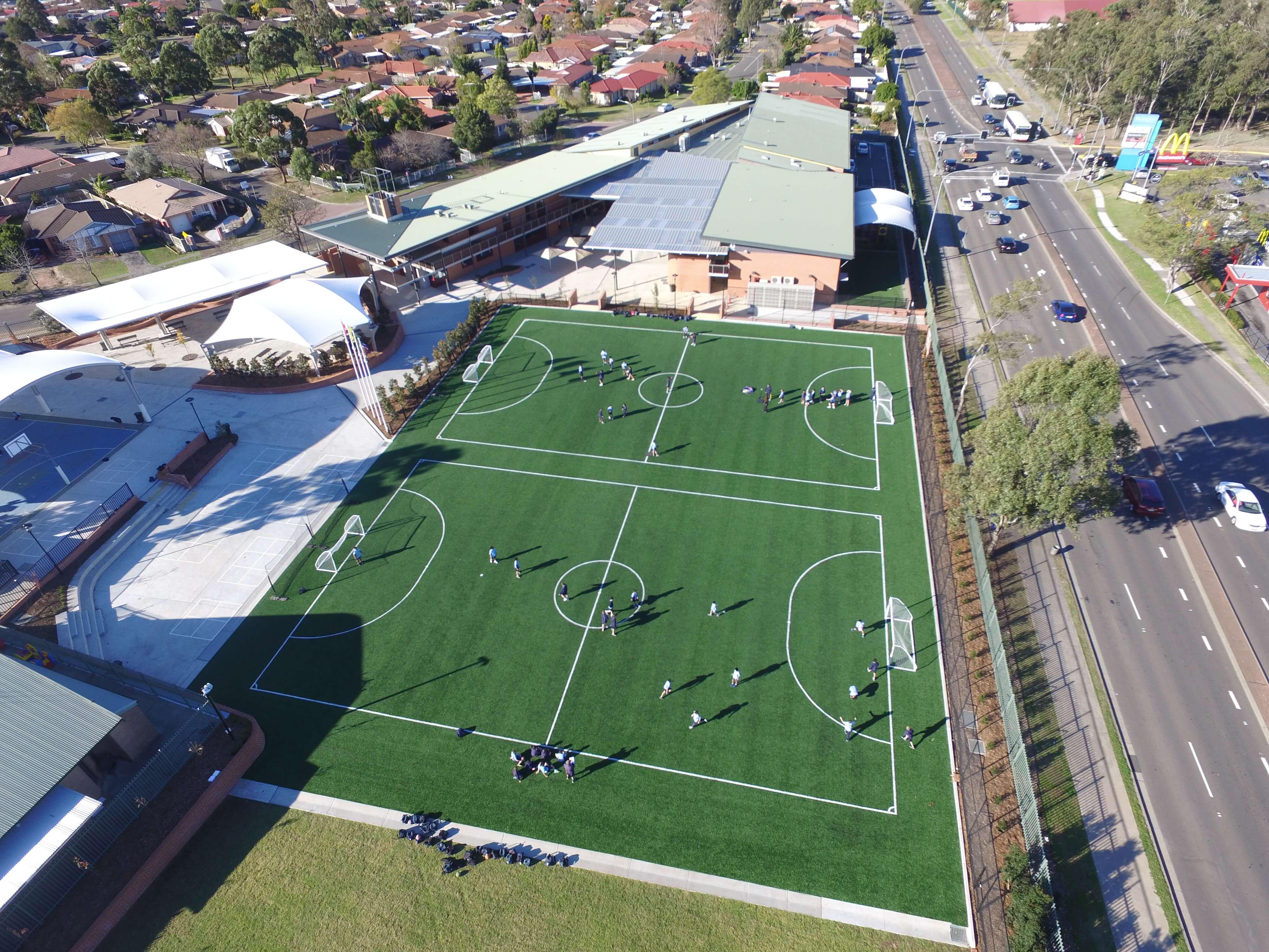 Drone view of RJ Anglican School Futsal Court