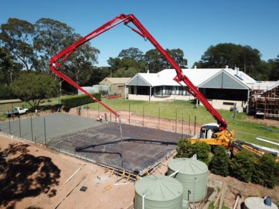 Building tennis court at house in Dural NSW