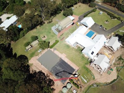 Aerial view of tennis court construction in Dural NSW